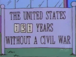 A sign outside the local immigration centre in the Simpsons episode Much Apu About Nothing